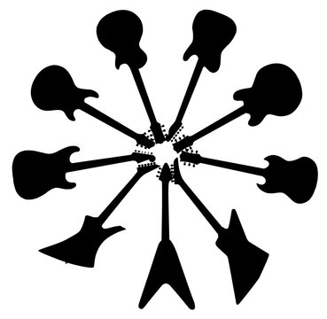 Circle Of Guitar Silhouettes