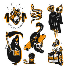 Happy Halloween. Collection of creepy pictures for halloween decorations, doodle silhouettes, halloween, silhouettes, sketch, icon, sticker. Hand drawn vector illustration.