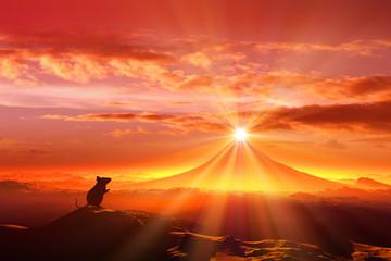 富士山の日の出とネズミのシルエット Fototapete