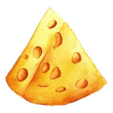 Cheese closeup. Organic eat. Yellow watercolor illustration.