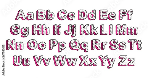 Cute uppercase and lowercase letters of the English alphabet