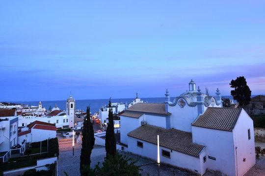 Sunset at the village of Albufeira, Algarve, Portugal