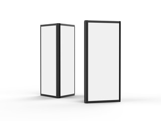 aluminum triangular booth display tower, 3 sided display stand rack fabric advertising system for trade show, 3d illustration