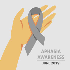 A square vector image with a gray ribbon as a symbol of aphasia awareness. A world aphasia awareness month. A template for a medicine flyer poster card design