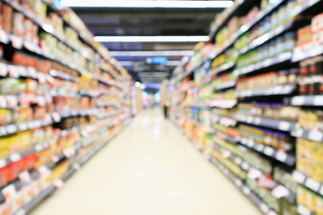 supermarket aisle interior with product shelves abstract blur background