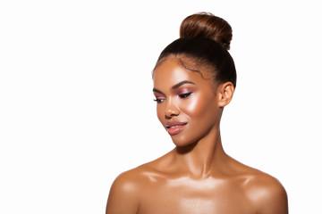 Closeup Beauty Fashion Glamour Portrait African Woman. Glitter Vivid  Pink makeup. High Fashion model. Glamour beauty Portrait young African woman with closed eyes woman - Image