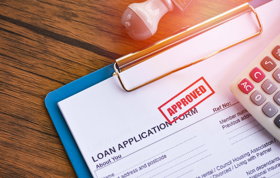 Loan approval / financial loan application form for lender and borrower for help investment bank estate