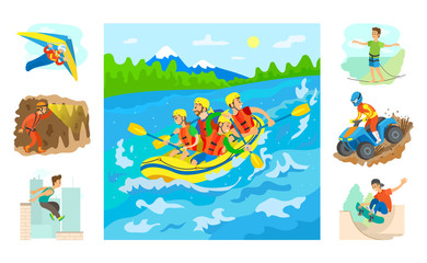 Door stickers People in boat rafting vector, set of hobbies and extreme sports. Highlining and parkour, skateboarding and extreme mans on sport, speleotourism hang gliding and biking