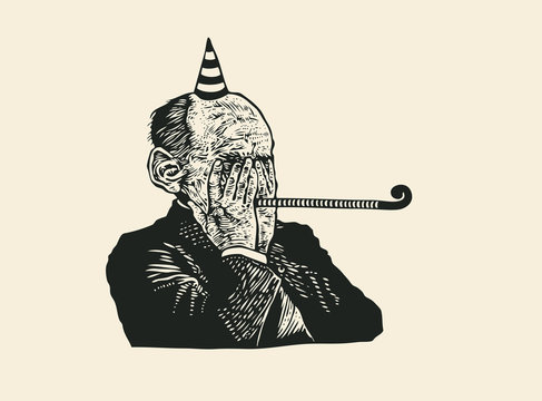An old wrinkled man celebrates his anniversary or retirement. retro linocut engraving style. vector illustration.