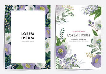 Wall Mural -  Vector illustration of a floral frame set in spring for Wedding, anniversary, birthday and party. Design for banner, poster, card, invitation and scrapbook