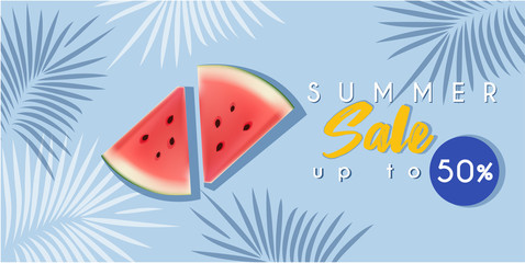 Hot summer sale banner with watermelon or poster template
