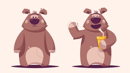 Funny brown bear character. Cartoon vector illustration