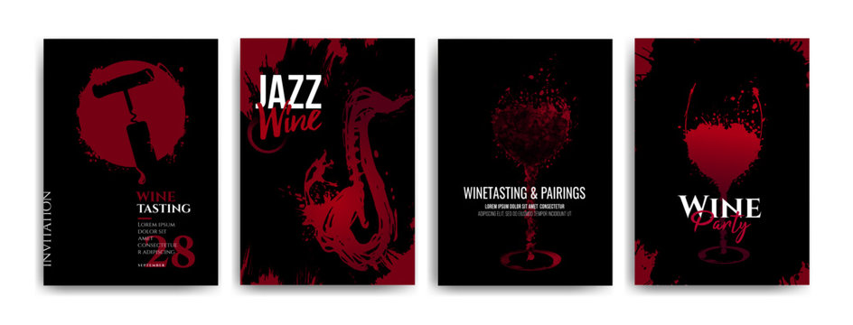 Collection of templates with wine designs, illustration of wine glasses with spots, wine and music concept. Brochures, posters, invitations, web banners. Black background. Vector illustration