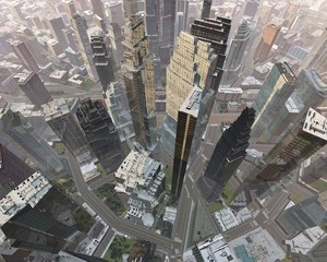 Skyscrapers view from above, modern city in the fog from a height of flight ,, 3d rendering
