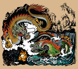 Two Chinese East Asian dragons encircling a flaming pearl. Landscape with waterfalls, mountains, clouds and water waves. Graphic style vector illustration
