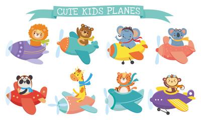 Set of cute animal on planes. Kids transport. Funny pilots. Giraffe, bear, tiger, elephant, monkey, lion, panda, koala. Vector illustration