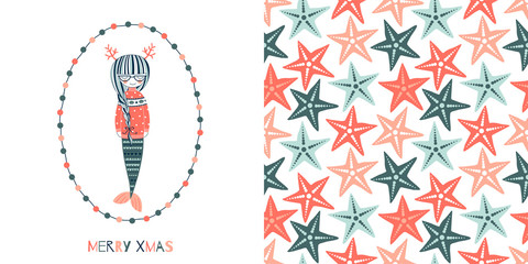 Underwater Merry Christmas concept graphics set in decorative Scandinavian style. Magical Xmas Mermaid in jacquard sweater. vector illustration. Simple flat multicolour starfish seamless background.