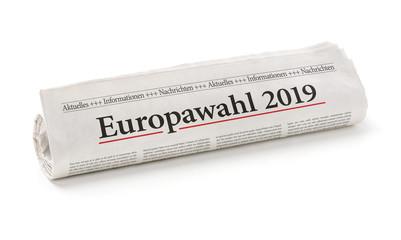 Zeitungsrolle mit der Überschrift Europawahl 2019