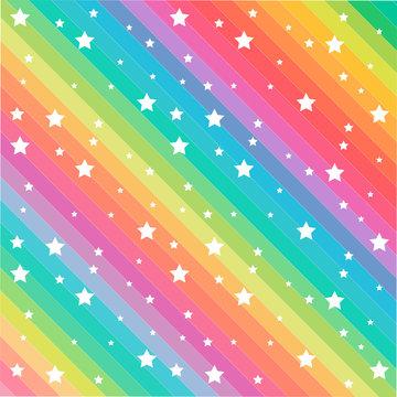 Rainbow color stars pattern vector