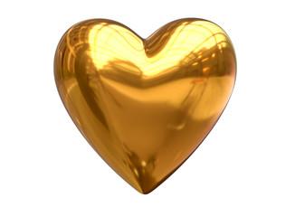 3D Render of metalic golden heart shape isolated on white