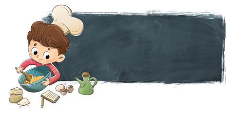 Niño cocinando con fondo de pizarra