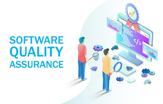 Software quality assurance vector concept for web banner, website page