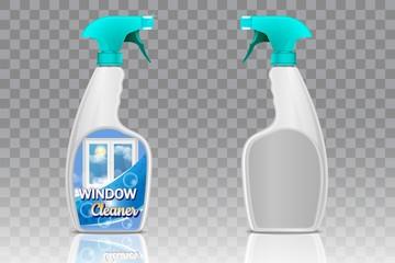 Spray bottle mockup set, vector realistic illustration