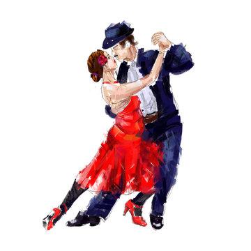 Tango dancers ,  oil paintng, digital art