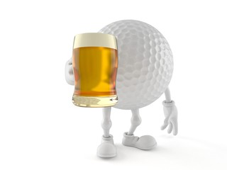 Golf ball character holding beer glass