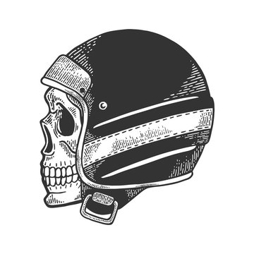 Skull in old motorcycle helmet sketch engraving vector illustration. Scratch board style imitation. Hand drawn image.