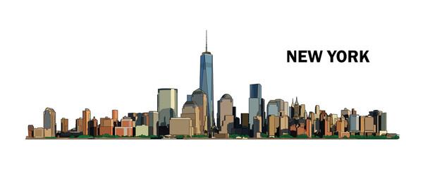 New York skyline, vector colorful illustration