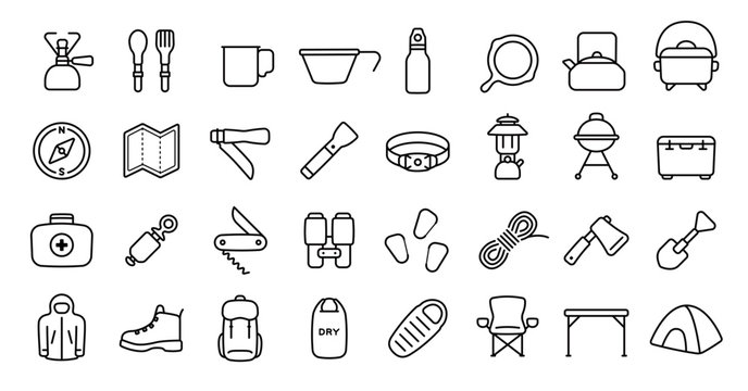 Camping and Outdoor Gear Icon Set (Thin Line Version)