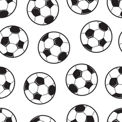 A set of soccer balls. Football theme Seamless background. The vector model with black and white elements.
