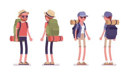 Obraz Hiking man, woman standing. Tourists with backpacking gear, wearing clothes for outdoor sporting or leisure activity. Vector flat style cartoon illustration isolated on white background, front, rear - fototapety do salonu