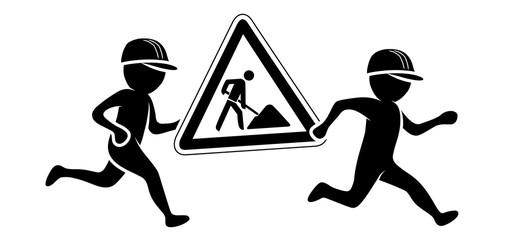 Zwei Bauarbeiter tragen laufend ein Baustellenschild / Schwarz-weiße Figuren / Flat Design, Vektor, Icon