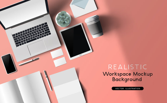Workspace and office mockup top view realistic vector with stationery and work devices.