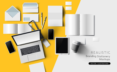 Top view of identity and branding stationary and products. Mockup template vector illustration.