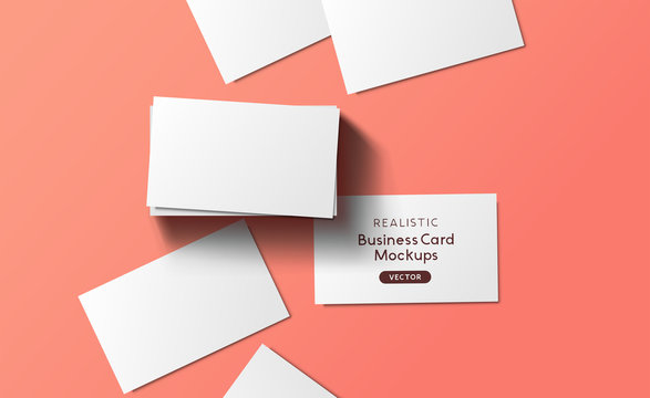 Mockup Business Cards Layout Top View