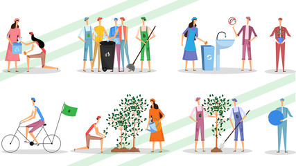Different activity of men and women participation on the occasion of save the environment.