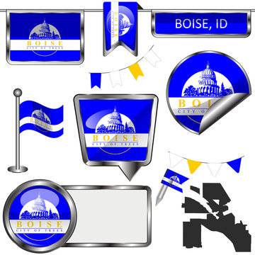 Glossy icons with flag of Boise, ID