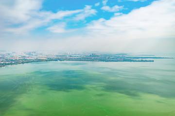 Aerial view of Dianchi lake by Kunming. China.