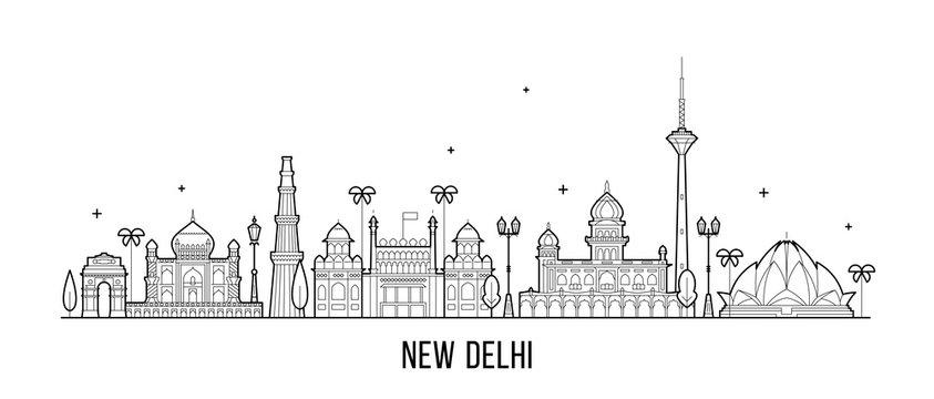 New Delhi skyline India this city buildings vector