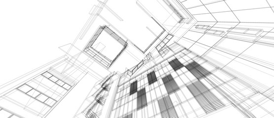 Architecture building space design concept 3d perspective wire frame rendering isolated white background. For abstract background or wallpaper desktops computer technology design architectural theme. Fototapete