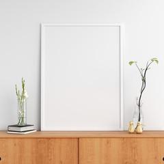 Blank photo frame on cabinet for mockup, 3D rendering