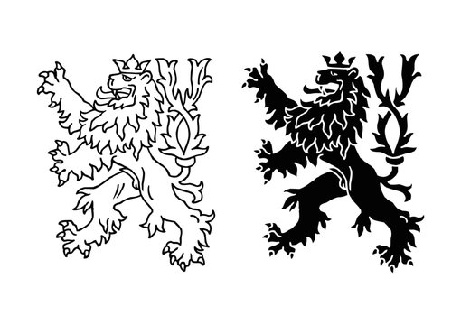 Heraldic lion with crown, historical symbol of Czech Republic icon set