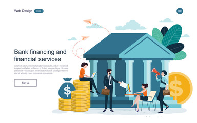 Banking concept.Bank buildings,bank financing, financial services, money exchange, saving money. Vector illustration. Wall mural