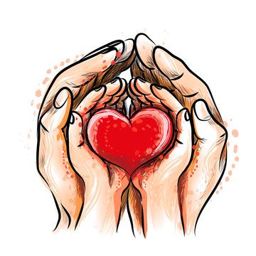 Mother and child hands hold a red heart meaning love and family