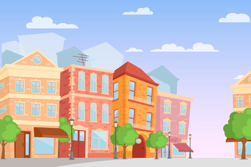 Vector illustration of cartoon city in bright colors, day time, cute city street with colorful houses in flat style. Fotomurales