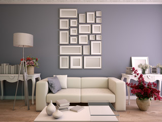 Gray and white Living room with mock up picture frame arrangement