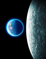 Moon and earth seen from space. Lunar surface and earth in the background. The earth seen from the moon. 50th anniversary of the lunar landing. Elements of this image are furnished by Nasa. 3d render